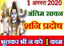 1 August 2020 Shani Pradosh Vrat सावन शनिवार प्रदोष व्रत 2020 कब है