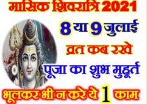 आषाढ़ मासिक शिवरात्रि शुभ मुहूर्त 2021 July Masik Shivratri 2021 Date Time