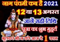 नागपंचमी शुभ मुहूर्त 2021 Nag Panchami Date Time 2021